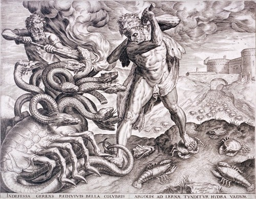 Heracles killing a lobster-bodied hydra, 1565 engraving